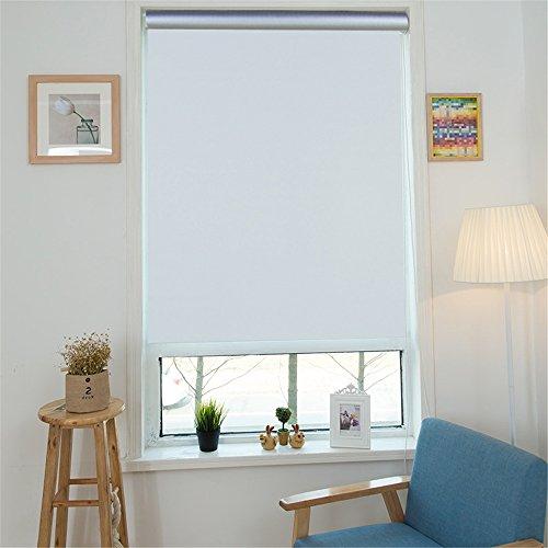MCTECH - Tenda a rullo oscurante e termica, si aggancia alla finestra senza forarla, Tessuto, bianco, 90 x 160 cm