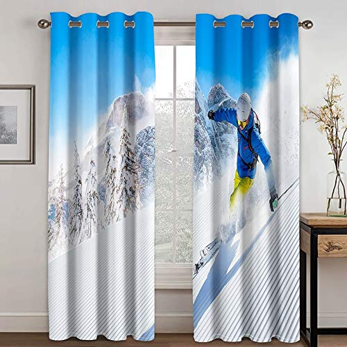 ANAZOZ 2 Cortinas Salon Cortinas Exterior Poliester Esquí Azul Blanco Cortinas de Habitacion Tamaño 214x115CM