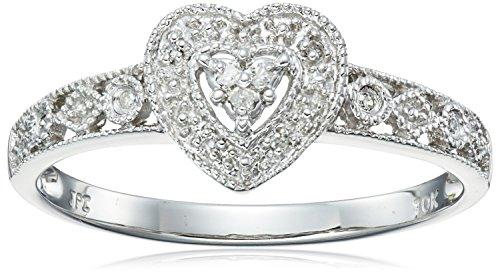 10k White Gold Diamond Heart Ring (0.03 cttw, I-J Color, I2-I3 Clarity), Size 8