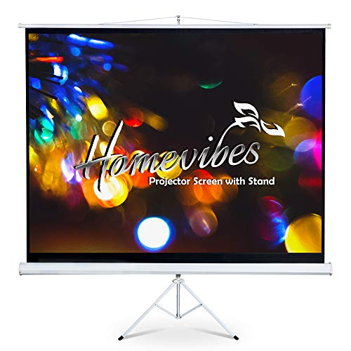 Homevibes 100 inch 4:3 Projector Screen with Stand Pull Up Portable Foldable Tripod Movie Screen Video Projection Screen for Home Theater Outdoor, 3D 4K HD Matte White Manual Adjustable, 1.3 Gain