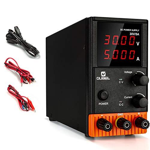OUBEL Alimentación de Laboratorio Variable, Fuente de Alimentación de DC Regulada (30 V 5 A), con Cables de Cocodrilo, Cable de Alimentación de la EU, 4 Pantallas LED Digitales