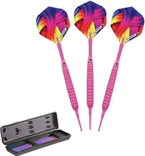 Elkadart Neon Soft Tip Dartpfeile mit Aufbewahrung/Reiseetui, 18 Gramm, Unisex-Erwachsene, neon pink, 18gm