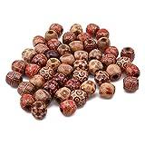 Winwinfly 100 pcs/sac imprimé grand trou en bois perle de cheveux tressé anneau tube boutons de manchette pour coiffure extension de cheveux