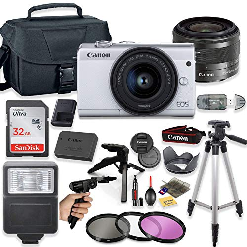 "Canon EOS M200 4K Mirrorless Digital Camera (White) with 15-45mm STM Lens + Deluxe Accessory Bundle Including Sandisk 32GB Card, Camera Case, Flash, Grip Multi Angle Tripod, 50"" Tripod, Filters & More"