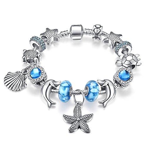Presentski Charm Bracelet con regalo di giorno di colore blu di serie dell'oceano Madre