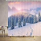 EdCott 3D Fantasie Druck Winter Landschaft Duschvorhang Schnee Berg Kiefer Wald Sonnenaufgang Sonnenaufgang Weihnachten Duschvorhang Set Ester Badezimmer Zubehör Enthält 12 Haken 69X70 Zoll