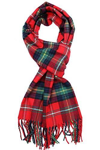 Achillea Classic Plaid Check Cashmere Feel Winter Scarf (Red Green Tartan Plaid)