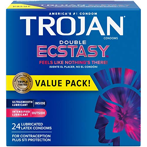 Trojan Double Ecstasy Lubricated Condoms - 24 Count (Packaging May Vary)