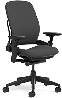 Steelcase Leap Ergonomic Office Chair with Flexible Back | Adjustable Lumbar, Seat, and Arms | Black Frame and Buzz2 Black Fabric