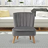 INMOZATA Grey Pouffe Foot Stool Velvet Pouffe Footstool Small Accent Tub Chair for Kids Living Room Bedroom (Grey)