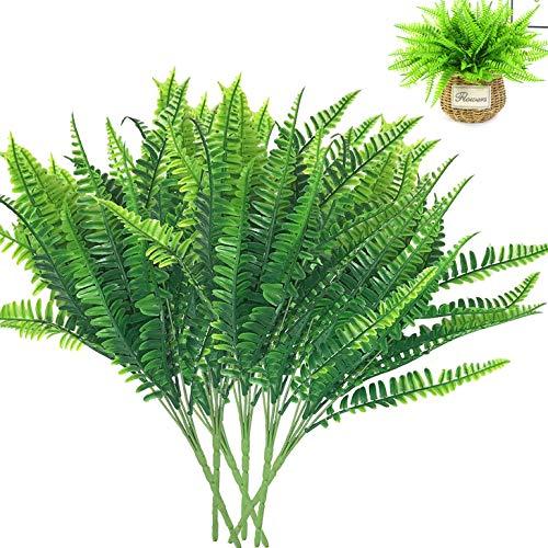 BITEFU 6pcs Kunstpflanzen Künstlicher Boston Farn Pflanzen, Grün Kunststoff Fake Evergreen Shrubs pflanzen für Indoor Home und Outdoor Balkon Dekoration Produkte