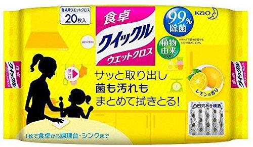 花王 クイックル 食卓クイックル ウェットクロス レモンの香り 20枚 [6173]