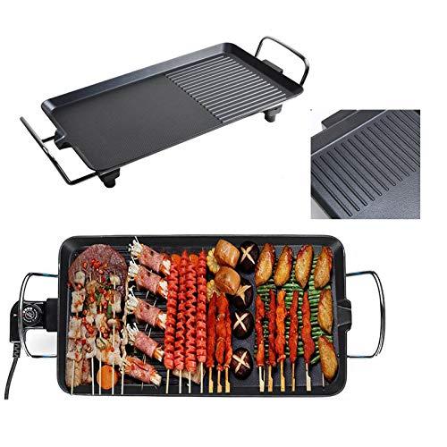 Elektrische Grillplatte 1500W, Teppanyaki-Grill mit Antihaftbeschichtung, Elektrogrill 48x27x8cm, Indoor BBQ Grill Tischgrill verstellbare Temperatur