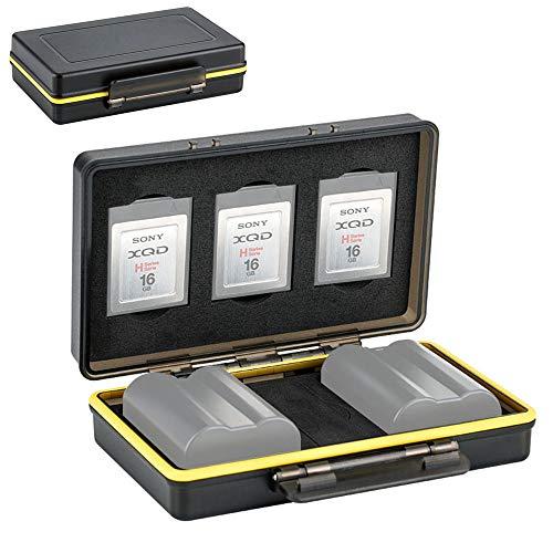 XQD Card Holder & Camera Battery Case for 3 XQD Cards + 2 Camera Batteries ≤59x39x20mm fits Nikon EN-EL15 EN-EL15a EN-EL15b on Z6 Z7 D850 D7500 D810A D810 D800 D800E D750 D610 D500 D7200 D7100 D7000