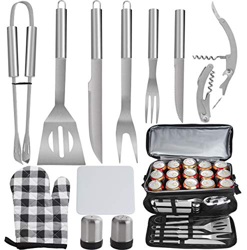 POLIGO 12PCS BBQ Grill Accessories Set with 15 Can Black Insulated Waterproof Cooler Bag for Christmas Birthday Gifts - Camping Grilling Tools Kit Ideal Barbecue Utensils Presents for Dad Men Women