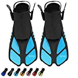 BPS Short Adjustable Swim Fins - Open-Toe and Open-Heel Design - for Diving