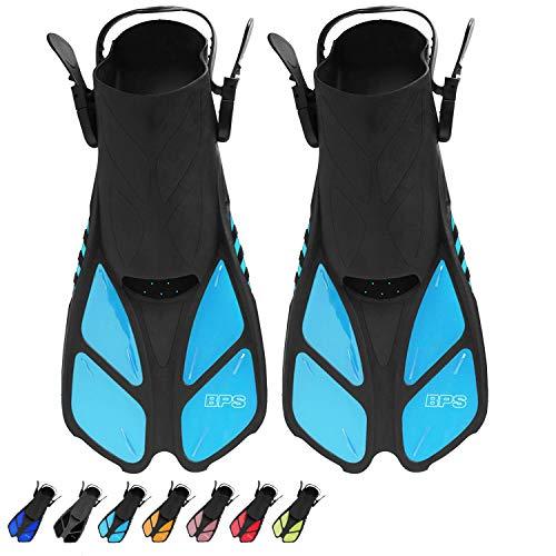 BPS Short Adjustable Swim Fins - Open-Toe and Open-Heel Design - for Diving, Snorkeling, Scuba...