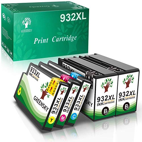GREENSKY 932XL 933XL Cartuchos de Tinta de Repuesto compatibles para HP Officejet 6100 6600 6700 7110 7510 7610 7612 2 Negro 1 Cian 1 Magenta 1 Amarillo (Paquete de 5)