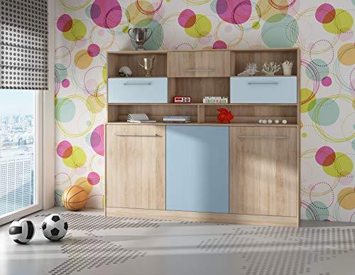 BIM Furniture Roger Wandbed, horizontaal kastbed, 90 x 200 cm, inklapbaar bed, kast met geïntegreerd klapbed, functioneel bed 90 x 200 cm Sonoma eiken/blauw