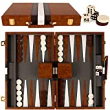 Backgammon Set - 15 Inch Classic Backgammon Board Game Sets Handheld - Backgammon Sets for Adults and Kids - Brown Faux Leather Case - Instruction