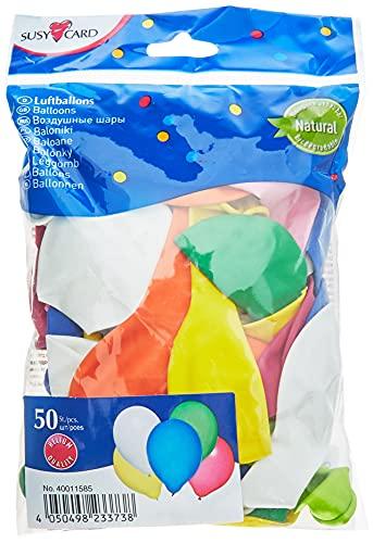 Susy Card 40011585 - Luftballons, 50 Stück, Latex, farbig Sortiert