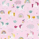 Hans-Textil-Shop Stoff Meterware Einhorn bunt auf Rosa
