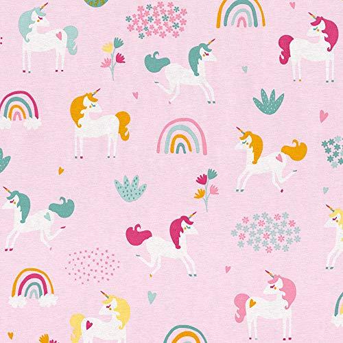 Hans-Textil-Shop Stoff Meterware Einhorn bunt auf Rosa (Kinder, Kinderzimmer, Deko, Mädchen, Nähen) - 1 Meter