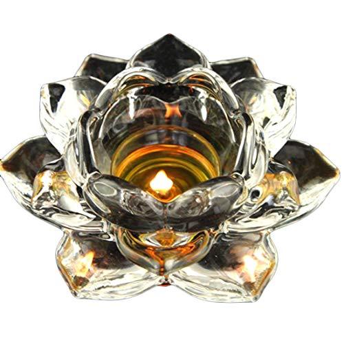 Teelichthalter Lotusblüte aus Glas, 12,7 cm, 2 Stück
