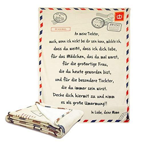 Personalisierte kuscheldecke Mutter An Meine Tochter Brief Gedruckt Quilts Luftpost Sofa Fleecedecke Flanell Wohndecke Briefdecke Mutter Ermutigen Und Lieben für Töchter Flanell Decken (150 x 200cm)