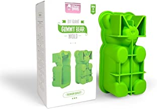 DIY Giant Gummy Bear Mold by Mister Gummy | Premium Quality Silicone + 2 Recipes and 5 Gift Bags Included | Make Big Bear Treats! (Gummy, Cakes, Breads, Chocolates, and More) - (Green)