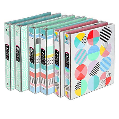 """1 inch Round 3 Ring Binder,Holds 8.5"""" x 11"""" Paper Designer Collection Binder ,Customized View Binders for Office/School/Home"""