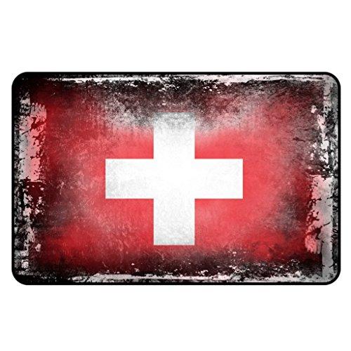 Cadora Magnetschild Kühlschrankmagnet Flagge Schweiz shabby chic abgenutzt alt gebraucht
