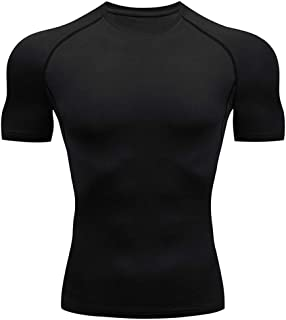 Men's Cool Dry Compression Short Sleeve Sports Baselayer T-Shirts Tops