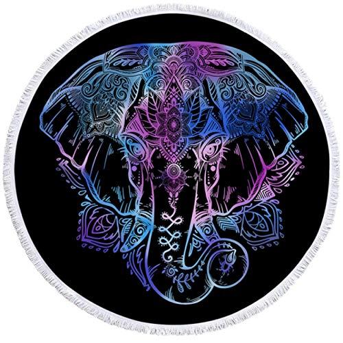 GermYan Toalla de Playa Redonda Bohemia Toalla de Elefante Bohemio con Borla Estera de Yoga Floral Lotus Toalla Blanket 150Cm