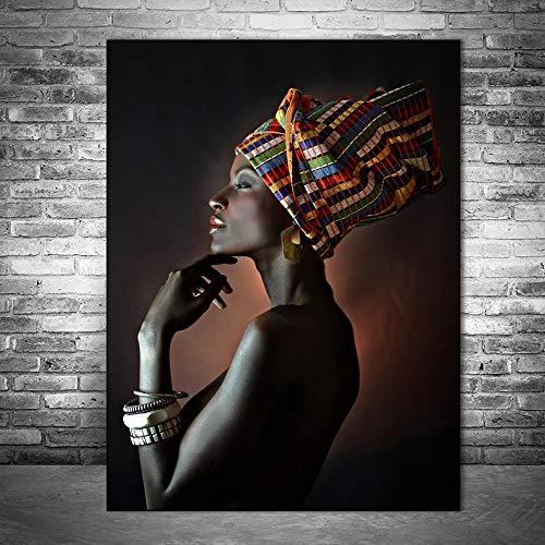 Pinturas al óleo hermosas de las mujeres negras imprimen en la lona Retrato de impresiones africanas del arte de la pared Carteles y cuadros de la pared
