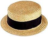 (田中帽子店)鬼麦カンカン帽(紳士用) 57.5cm(Mサイズ) (帽子 麦わら帽子 ストローハット 麦 春 夏 太麦 リボン 和風 小物 ギフト 誕生日 プレゼント 男性 日本製 国産 退職 父の日)UK-H048-M