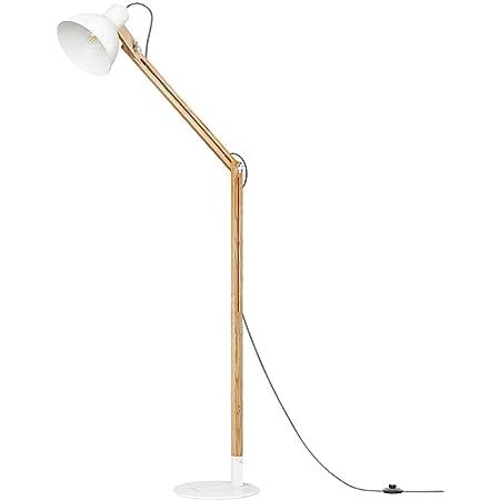 """Tomons Lampadaire à LED, Lampadaire sur Pied en Bois, Tête Réglable, 8W LED Lampe, 40W E27 Lampe à Incandescence, Naturel en Caoutchouc, 57.8""""Hauteur pour Salon, Chambre, Salle d'étude - FL1001"""