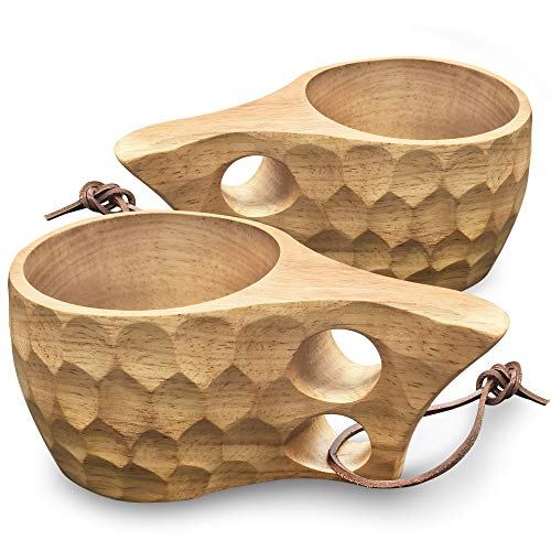Nordic Style Handmade Finnish Kuksa Ancient Lapland Finland Wooden Cup 2 Holes (Armor - 2 Holes)