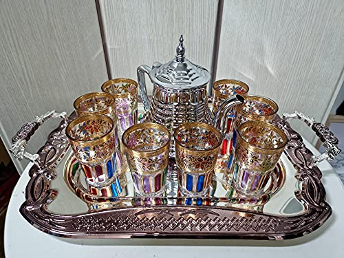 Pack completo para el te juego de te de 8 vasos de cristal, 1 bandeja con asas de 53cm plateada con grabado y 1 tetera con filtro integrado para el te marroqui de 50oz plateada