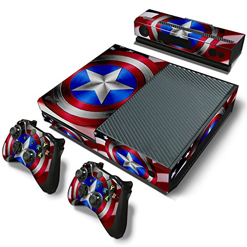 ZOOMHITSKINS X1 Console Skin Decal Sticker America Flag Force Army War Power Team USA Red Gloss Guardians Navy Blue Super Hero Defender + 2 Controller & Kinect Skins Set