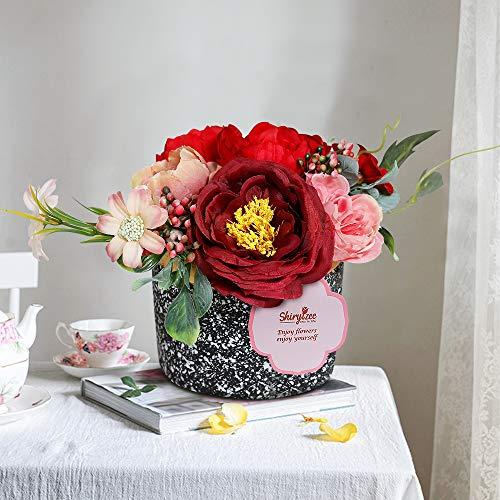 Efanty Künstliche Blumen Pfingstrosen Seidenblumen Blumen Deko Kunstblumen Blumen Handgemachte Pflanzen mit Mini Zement Blumentopf für Zuhause Hochzeit Dekoration Party Festival Büro Garten (Rot-1)