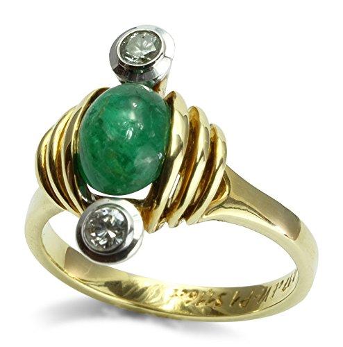 Christian Bauer Damen Ring 14 ct 585 Gelbgold Weißgold Smaragd Cabochon Brillant 0,170 ct Größe 54 R04-A0160