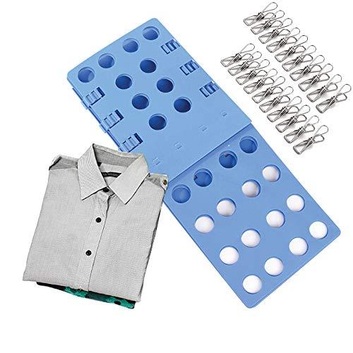 Pinzas de Ropa Acero Inoxidable 20 Piezas, Doblador de Camisetas Camisas Ropa Adulto Infantil-Tabla para Doblar Ropa