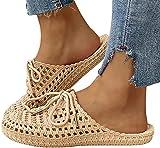 zxianc Zapatillas de estar por casa para mujer, transpirables, de malla, para verano, sandalias para playa, sandalias planas, pantuflas 36 EU caqui