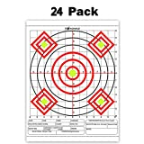 Highwild Paper Targets - 24 Pack - 13' X 17' High Visibility Fluorescent Bullseye Multi Color Firearms and Rifles Targets Gun Shooting Practice