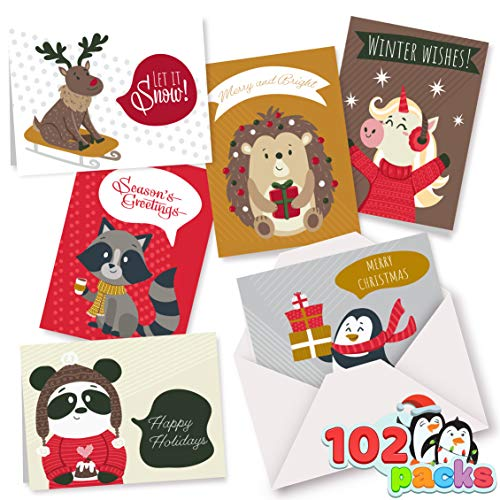 102 Christmas Greeting Cards Collection 6 Unique Animal Designs with Envelopes for Winter Merry Christmas Season, Holiday Giving, Xmas Cute Gifts Cards