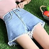 ShSnnwrl Pantalones Cortos de Mujer Short Women Button Fly Solid Simple All Match Plus Size Womens Denim Shorts White Hole Korean Style Casual 3