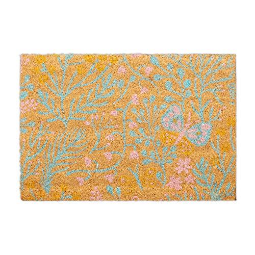 Relaxdays Felpudo de Coco con diseño de Flores y Hojas, 40 x 60 cm, para Interior y Exterior, Multicolor