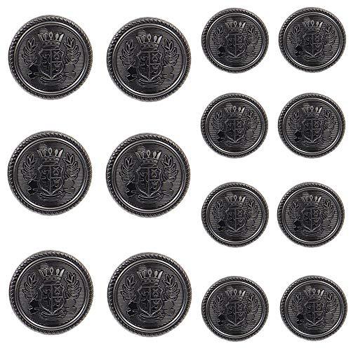 Funcoo 11 pcs Antique Metal Blazer Button Vintage Suits Button Set for Blazer, Suits, Sport Coat, Uniform, Jacket (Black+Silver)