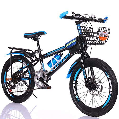 Bike 7 Geschwindigkeit Mountainbikes 18 Zoll 20 Zoll Kinderfahrräder für Jungen und Mädchen Scheibenbremse,Blue_1,20inch